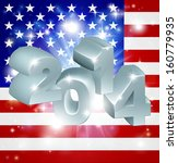 American flag 2014 background. New Year or similar concept - stock photo