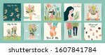 romantic set of illustrations... | Shutterstock .eps vector #1607841784