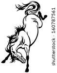 bucking horse tattoo black and... | Shutterstock .eps vector #160787561