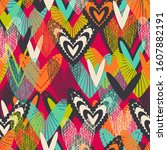 romantic seamless pattern with... | Shutterstock .eps vector #1607882191