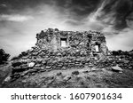 Monochrome Stone Wall Of A Rui...