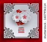 chinese new year 2020 banner.... | Shutterstock .eps vector #1607956114