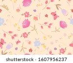 spring themed seamless pattern... | Shutterstock .eps vector #1607956237