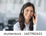 Call center agent with headset...