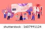 sale concept. happy people... | Shutterstock .eps vector #1607991124