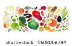 balanced diet  groceries...   Shutterstock .eps vector #1608006784