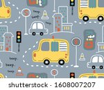 Seamless Pattern Of Vehicles In ...