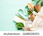 cotton bag and recycled... | Shutterstock . vector #1608028351