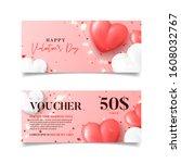 gift vouchers for valentine's... | Shutterstock .eps vector #1608032767