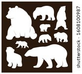 collection of silhouette  bears.... | Shutterstock .eps vector #1608100987