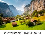 Summer View Of Alpine Valley Of ...