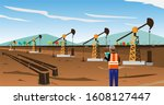 crude oil mining site on a... | Shutterstock .eps vector #1608127447