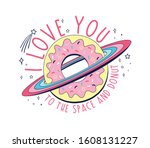 vector sketch space and donut... | Shutterstock .eps vector #1608131227