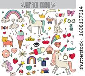 fun freehand colored whimsical... | Shutterstock .eps vector #1608137314