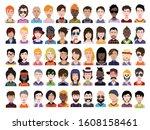people avatars. vector women ... | Shutterstock .eps vector #1608158461