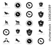horse icons set   isolated on...