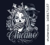 monochrome chicano tattoo... | Shutterstock .eps vector #1608171157