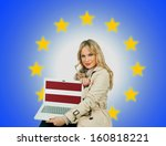 woman holding laptop with... | Shutterstock . vector #160818221