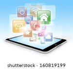 tablet pc computer with blue... | Shutterstock . vector #160819199
