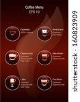 coffee menu vector icons.... | Shutterstock .eps vector #160823909