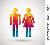 man   woman restroom sign with... | Shutterstock .eps vector #160824554