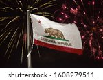 California Flag Blowing In The...