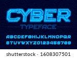 cyber alphabet font. neon... | Shutterstock .eps vector #1608307501