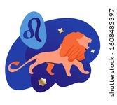 leo modern zodiac icon with...   Shutterstock .eps vector #1608483397