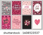 set of valentine's day greeting ... | Shutterstock .eps vector #1608523537