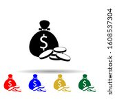 coin bag multi color style icon....