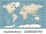 world map vintage old style  ... | Shutterstock .eps vector #1608538744
