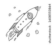 sketch rocket   vector space... | Shutterstock .eps vector #1608553864