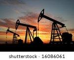 three pumps over orange sky   Shutterstock . vector #16086061