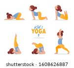 kids yoga set. gymnastics for... | Shutterstock .eps vector #1608626887