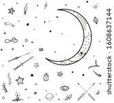 cosmic elements. crescent moon... | Shutterstock . vector #1608637144