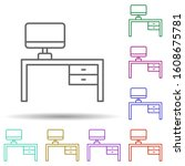 desk multi color style icon....