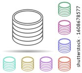 stack of coins multi color icon....