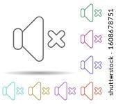 mute sign multi color icon....