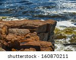 A Pink Granite Ledge And Cliff...