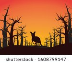 wildfire forest and kangaroo...   Shutterstock .eps vector #1608799147