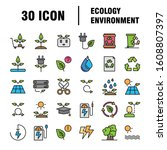 simple set of eco related... | Shutterstock .eps vector #1608807397