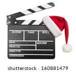 clapper board with santa's hat... | Shutterstock . vector #160881479