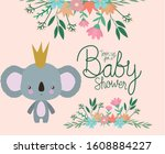baby shower invitation with...   Shutterstock .eps vector #1608884227