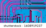 vector circuit board blue for... | Shutterstock .eps vector #1608919237