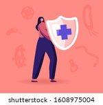 epidemiology concept. woman... | Shutterstock .eps vector #1608975004