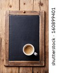 coffee cup on vintage slate...