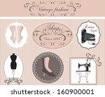 vintage fashion labels set | Shutterstock .eps vector #160900001