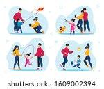family outdoor activities types ... | Shutterstock .eps vector #1609002394