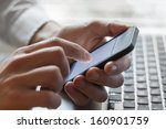 leader contacting his business... | Shutterstock . vector #160901759