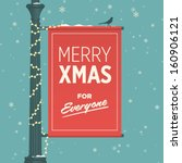 merry christmas card retro... | Shutterstock .eps vector #160906121